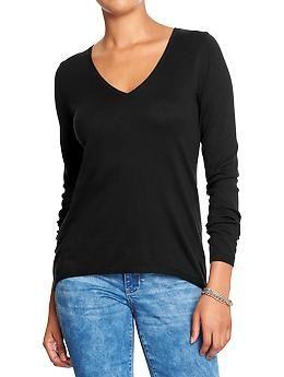 Black Hi-Lo V-Neck Sweater, Old Navy.