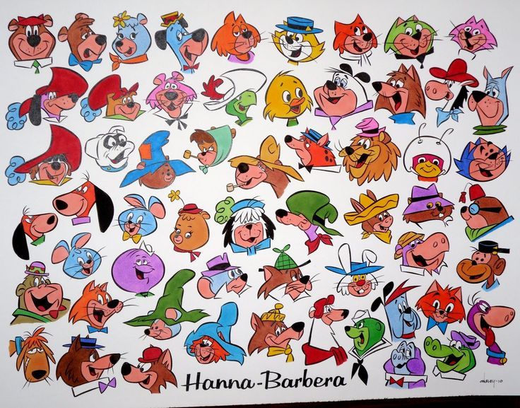 some of the faces from Hanna Barbera