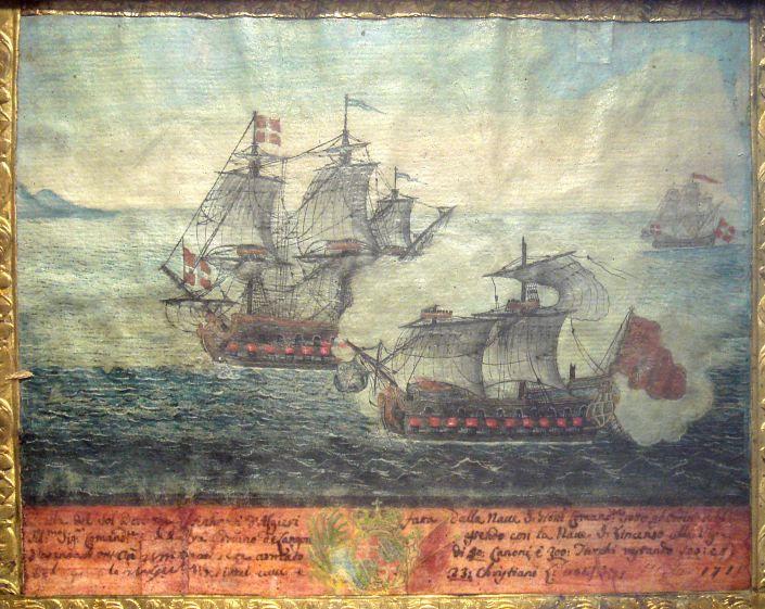 Ex-voto d'une bataille navale entre un navire Ottoman  d'Alger et un navire de l'Ordre de Malte commandé par Langon en 1719.