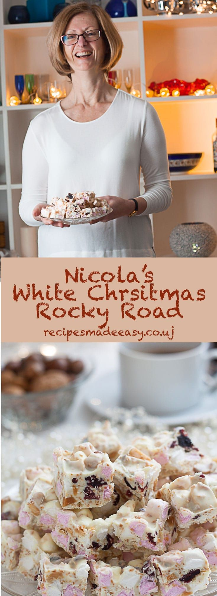 Nicola's White Christmas Rocky Road on Recipes Made Easy -A delicious mixture of toasted coconut, macadamia nuts, cranberries and marshmallow in creamy white chocolate via @jacdotbee