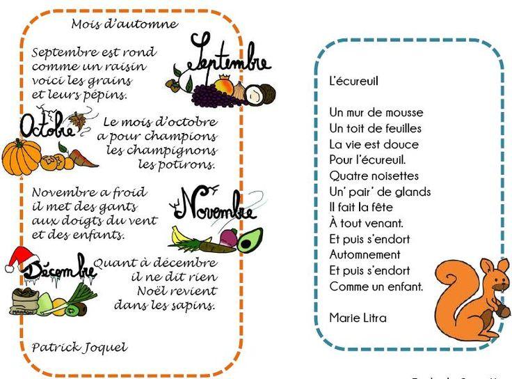 Poésies autour de l'automne - L'école de Crevette