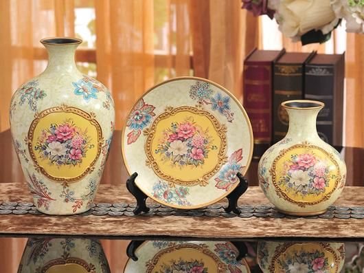 Vintage  Collection - 3 Piece Ceramic Vase Set - Yellow - Samiksha's - Vase set - www.samiksha.com - samiksha