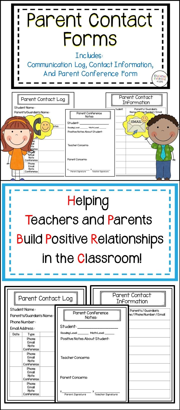 Making connections with a student's parents or guardians is an important factor in the success of a child. These parent communication logs and parent conference forms are a great documentation tool and outline to use to connect with parents. Click here to download this resource from Teachers pay Teachers!