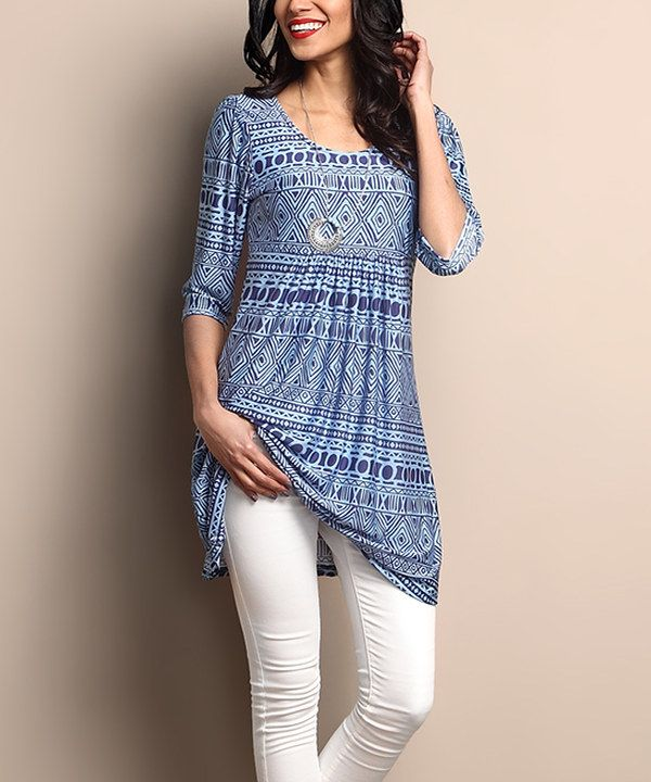 Look at this Blue Geo Empire-Waist Tunic Dress on #zulily today!
