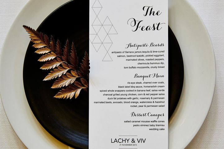 """LETTUCE & CO - STYLE. EAT. PLAY 'viv + lachy - modern art deco'. custom designed stationery. guest menu """"the feast"""". copper sprayed fern leaf. wedding reception @ northcote town hall. concept, design and wedding styling by lettuce & co"""