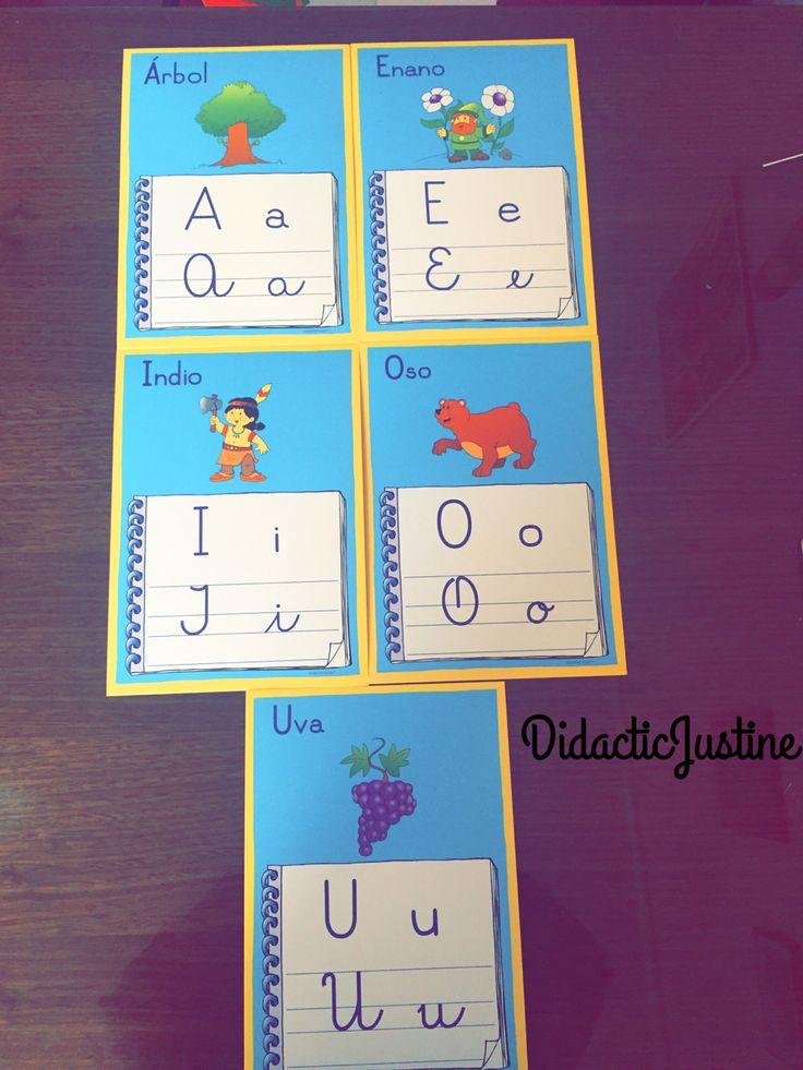 VOCALES, tarjetas de las vocales en sus cuatro formas e imagen del fonema inicial.