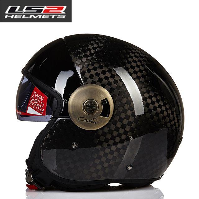 LS2 OF597 Carbon Fiber Motorcycle helmet jet Vintage helmet Open face retro 3/4 half helmet casco moto capacete motoqueiro ECE