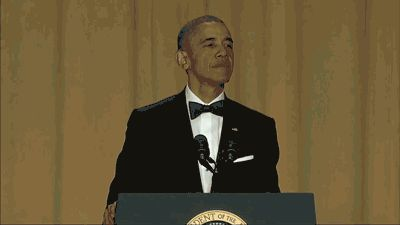 Obama took shots at presidential nominees on both sides, poked fun at the media and ended his speech with two memorable words.