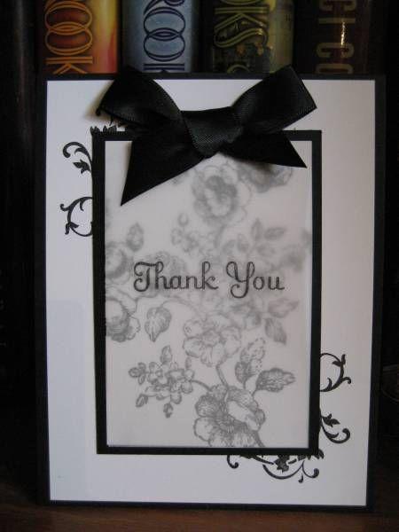 black and white with flourish and vellum    Nicht als solche gedacht, aber Konzept ist auch schön für Trauerkarte.