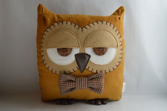 Terry the Corduroy Owl Cushion Mustard with Custom Bow by midgins