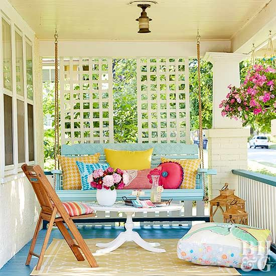 Pretty yet practical, porch swings are a fun addition to any outdoor area.