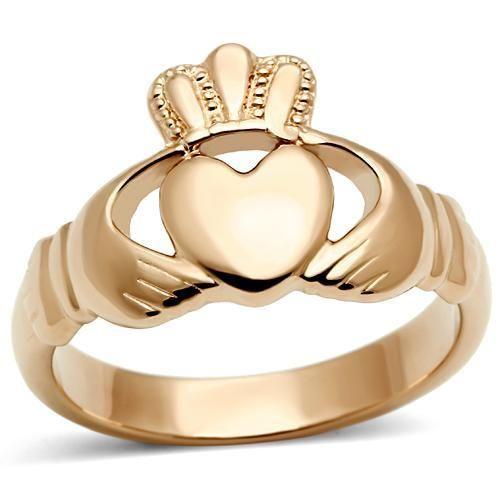 Ladies Rose Gold Plated Irish Claddagh Ring