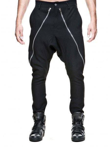 """Pantalon Sarouel Homme Noir CoupeSlim Fit avec Deux Fermetures Zip à l'avant Design """"Stratom Paris"""""""