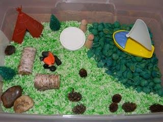 Camping Sensory Bin...could be used with travel and camp on durable surfaces for interactive idea? Use grass or something they can sift through to pick out items that don't belong?