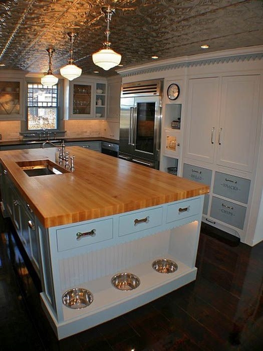Great kitchen! Like the tiled ceiling and the cabinet set-up by refrigerator.  And the pet feeding station!