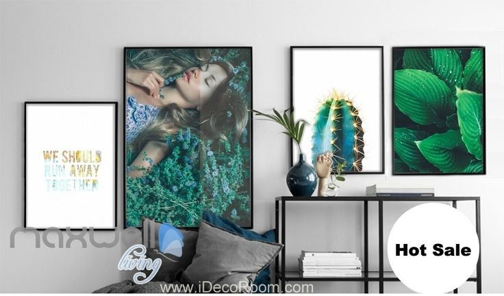 Spring Girl Cactus Green Leaves Canvas Prints Wall Decals Art Decor Unframed IDCCV-BO-000216