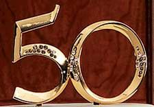 """50th Anniversary Cake Topper Pick. Gold. 5"""" 