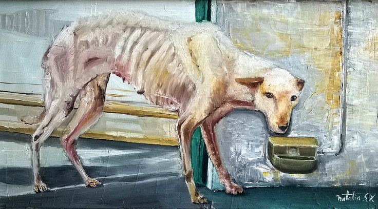 un perro hambriento #oil #oilpainting #dog #art