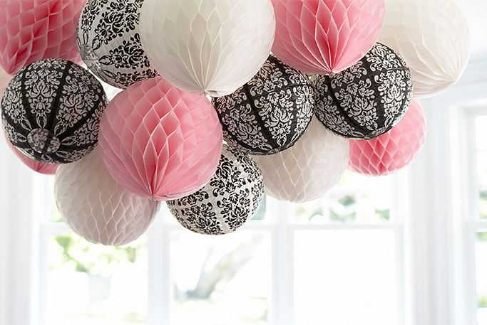 DIY Honeycomb Ball and Paper Lantern Chandelier!  #diy #chandelier ParisDamask Birthday Party #birthdayexpress @David Nilsson Nilsson Nilsson Nilsson Dahlquist Express