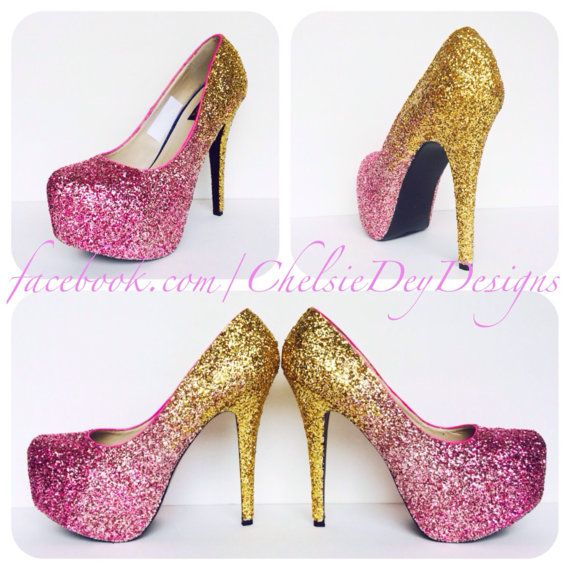 Hot Pink and Gold Ombre Glitter High Heels by ChelsieDeyDesigns