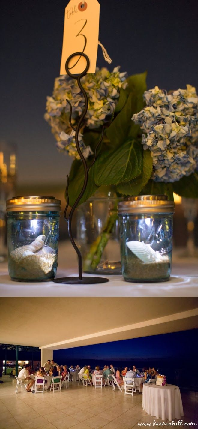 Table Decorations For Evening Wedding, Hydrangaes, Ball Jar Wedding  Decorations, Tealights, Wedding
