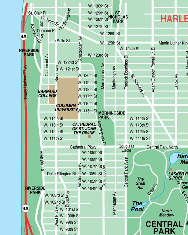west harlem new york city streets map