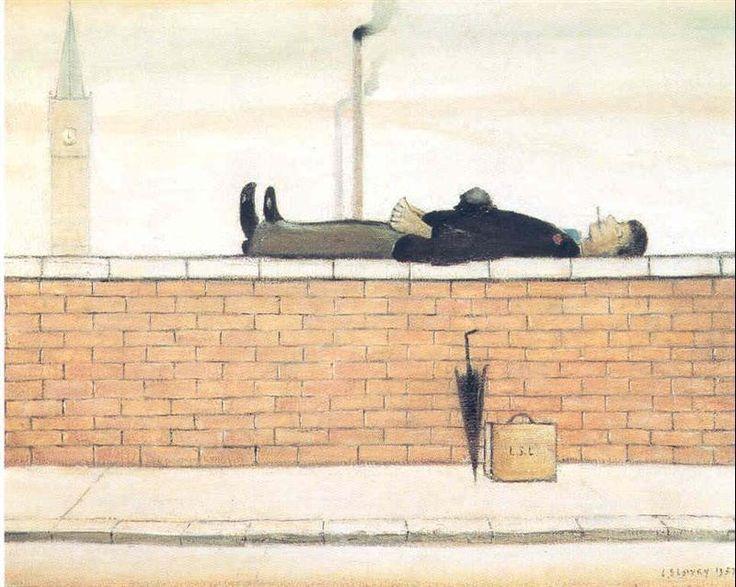 LS Lowry, Man Lying on a Wall