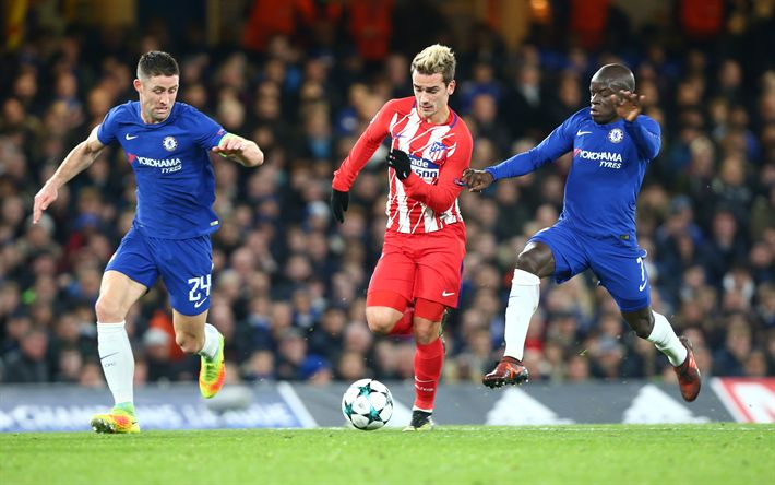Download wallpapers 4k, Antoine Griezmann, Gary Cahill, NGolo Kante, match, football stars, Atletico Madrid, Chelsea, Griezmann, footballers, soccer