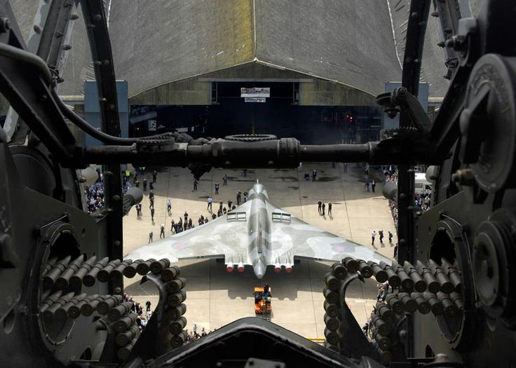 Unusual (and stunning) view of an Avro Vulcan from a Lancaster's rear turret