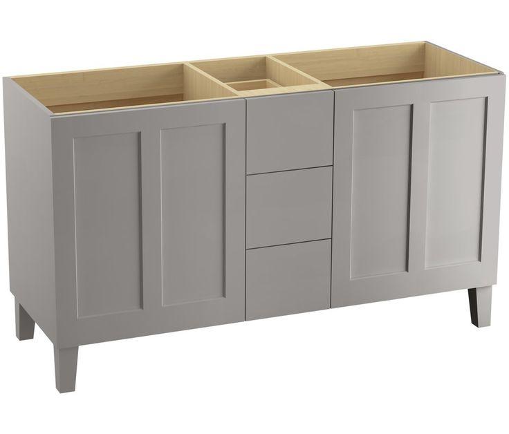 """Poplin 60"""" Vanity with Furniture Legs, 2 Doors and 3 Drawers, Split Top Drawer"""