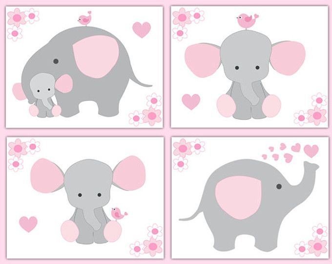 VIVERO de ELEFANTE IMPRESIONES chica pared arte Rosa sala gris gris decoración Safari selva animales bebé ducha regalo decoraciones florales niños dormitorio
