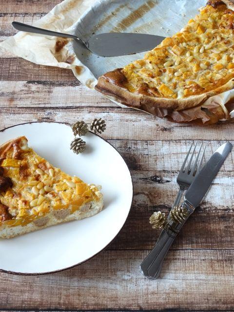 Pompoenquiche met feta en kippengehakt - Junnekes recepten