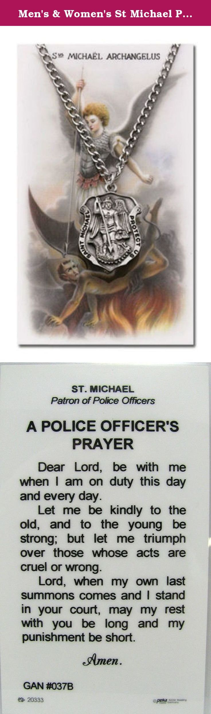"""Men's & Women's St Michael Police Officer Service Necklace & Prayer Card Set. We have combined genuine pewter medals on 24"""" chain with matching laminated cards (2 3/4"""" x 4 1/2"""" approximate size). Necklace says: saint michael - protect us. Back of cards says: st. Michael patron of police officers a police officers prayer dear lord, be with me when i am on duty this day and every day. let me be kindly to the old, and to the young be strong: but let me triumph over those whose acts are cruel…"""