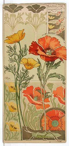Riom. Californian Poppy and Field Poppy from Etudes de Fleurs. 1890s. Lithograph.