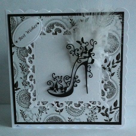 Tattered Lace High Heel Glam Card www.facebook.com/DHMCards