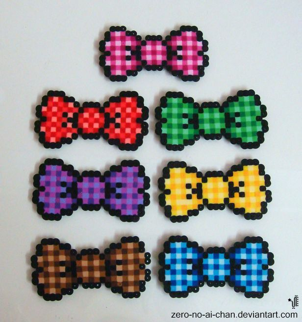 Perler Beads Checkered Bows by zero-no-ai-chan on deviantART