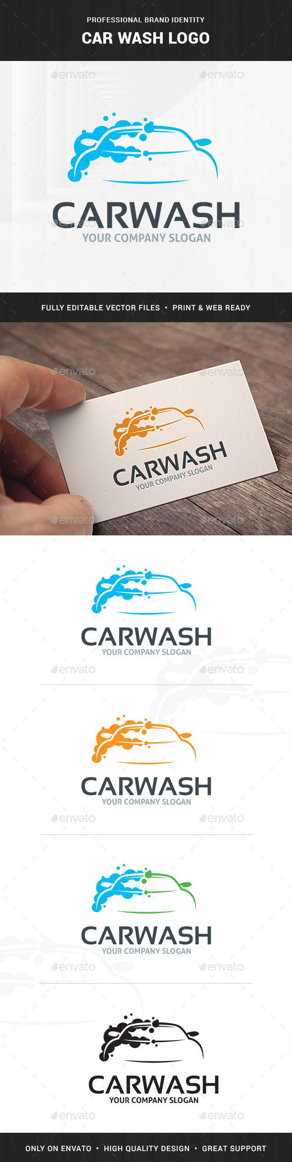 Car Wash  - Logo Design Template Vector #logotype Download it here: http://graphicriver.net/item/car-wash-logo-template/6303872?s_rank=727?ref=nexion