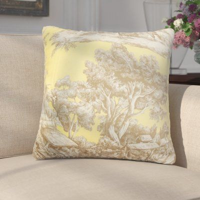 """Darby Home Co Chalgrave Toile Cotton Throw Pillow Color: Yellow, Size: 18"""" x 18"""""""