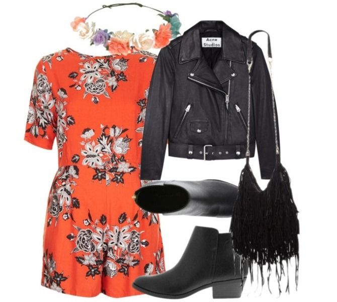 our inspirations #leatherjacket #floraldress #garland
