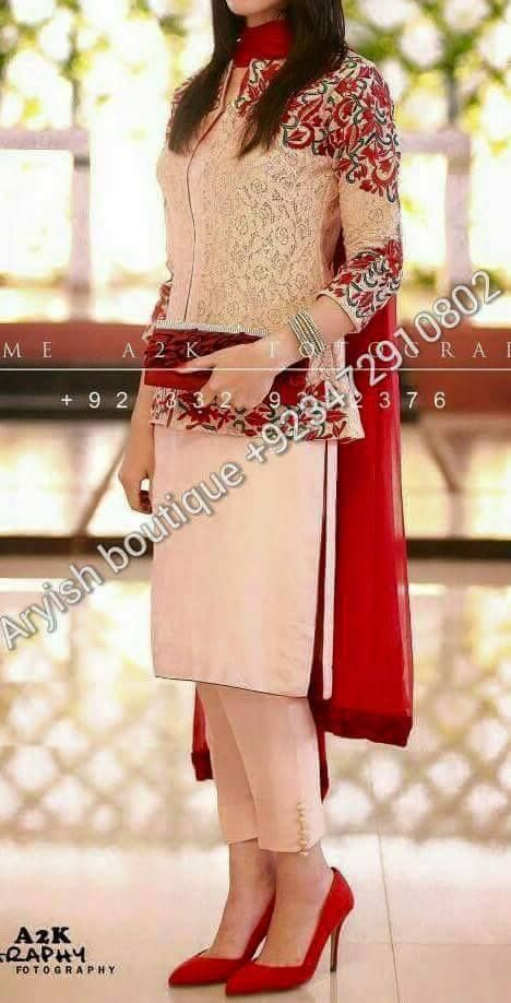 white and red pakistani outfit