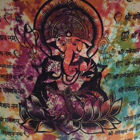 TAPESTRY GANESH HIPPIE Buddha lotus perfect condition Other