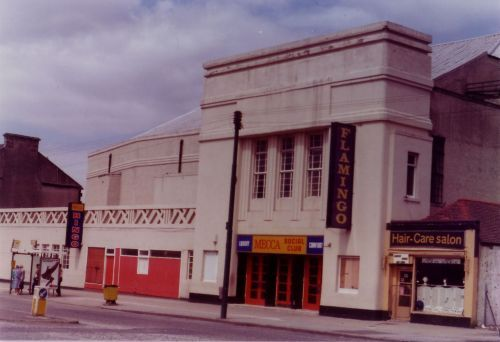 The Flamingo Bingo on Paisley Rd West Glasgow. My mum and grandparents used to go here before it was suspiciously burnt down in the 90s. The new Morrisons supermarket stands in the place of this beautiful old listed building. Hmmm!