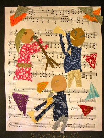 multi-media collage of a musician (or two or three) using drawing, paper, and paint. sheet music for the background. music + art!