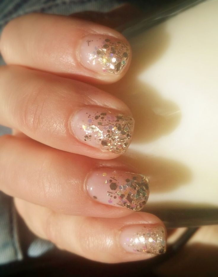 Gel manicure with golden tips.