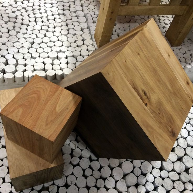 A cube selection showing various woods and finishes available from us.