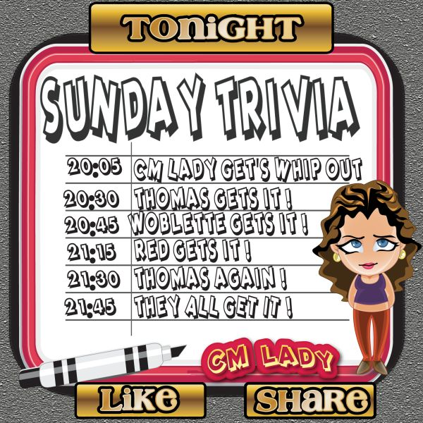 Sunday Trivia Bridget's 90B Room, 8pm-10pm Not a member of Rehab Bingo ?? Why not sign up today at  www.rehabbingo.com and claim your Welcome Bonus ALSO !