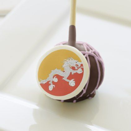 #Bhutan Flag Cake Pops - #country gifts style diy gift ideas