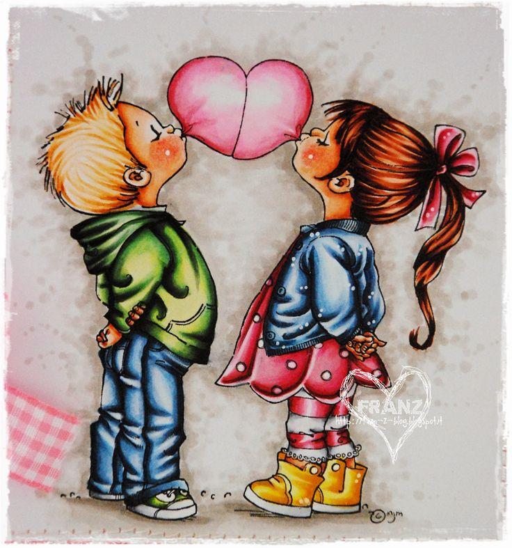 Bubble Heart: Skin:  E0000-E000-E00-E11 +R20 and prismacolor pencil for cheecks;    Hair:   Boy: E50-E51-E53-E35 Girl: E00-E13-E15-E18;   Outfit Boy: Sweater: YG000-YG00-G12-G24-YG67 Trousers: B0000-B91-B93-B95-B97-B99 Shoes: YG00-G12-G24-YG67-C3-C1-0;  Outfit Girl: Dress/Ribbon: RV10-R81-R83-R85-R89 Sweater: B0000-B91-B93-B95-B97-B99 Leggings: RV10-R81-R83-R85-R89-C3-C1-0 Boots: Y000-Y15-Y23-YR38;  Bubble Heart: RV10-R81-R83-R85;  Background W1-W3-W5-0.