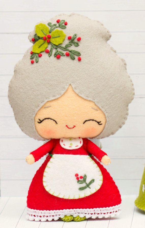 Patrón de PDF. La señora Santa con un árbol de Navidad por Noialand