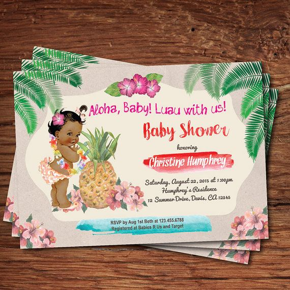 luau baby girl shower invitation summer tropical hawaiian vintage baby